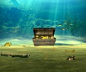 image of rudder  - The treasure chest with valuable objects underwater - JPG