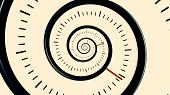 Infinite Time. Infinite Rotating Clock Background. Black And White Watch Background poster
