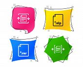 Archive File Icons. Compressed Zipped Document Signs. Data Compression Symbols. Geometric Colorful T poster