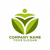 Logo Of Green Leaf Ecology Nature Element Vector Icon. Design Shape Leaf Logo And Abstract Organic L poster