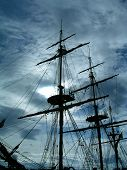 stock photo of pirate ship  - masts and rigging of old sailing ship - JPG