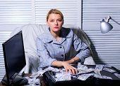 Financial Success. Accountant With Pile Money Hide Under Umbrella. Accountant Enjoy Money Rain. Mone poster