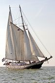 Traditional sailboat sailing on the IJsselmeer in the Netherlands