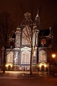 Westerkerk in Amsterdam by night in the Netherlands