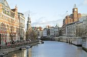 Amsterdam city center in the Netherlands with the Munt tower