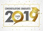 Graduating Class Of 2019 Vector Illustration. Class Of 20 19 Design Graphics For Decoration With Gol poster