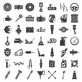 Motor Car Part Icon Set. Simple Set Of Motor Car Part Vector Icons For Web Design On White Backgroun poster