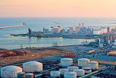 stock photo of lng  - LNG Tanks at the Port of Barcelona at Sunset - JPG