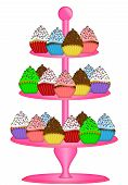 stock photo of three tier  - Cupcakes on Pink Three Tier Cake Stand Illustration Isolated on White Background - JPG
