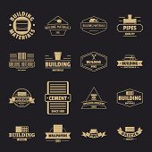 Building Materials Logo Icons Set. Simple Illustration Of 16 Building Materials Logo Vector Icons Fo poster