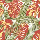 Summer Exotic Floral Tropical Palm, Philodendron Leaf. Jungle Leaf Seamless Pattern. Botanical Plant poster