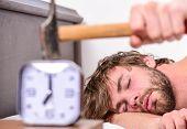 Annoying Ringing Alarm Clock. Man Bearded Annoyed Sleepy Face Lay Pillow Near Alarm Clock. Guy Knock poster