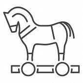 Trojan Horse Virus Icon. Outline Trojan Horse Virus Icon For Web Design Isolated On White Background poster