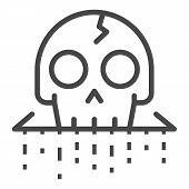Crack Skull Icon. Outline Crack Skull Icon For Web Design Isolated On White Background poster