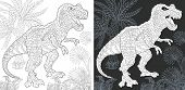 Coloring Page. Dinosaur Collection. Colouring Picture With Tyrannosaurus Rex Drawn In Zentangle Styl poster