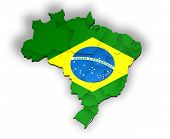 Three dimensional divisions of Brazil with white background
