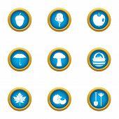Rainy Day Icons Set. Flat Set Of 9 Rainy Day Icons For Web Isolated On White Background poster