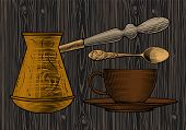 Coffee collection. Many different hands held up holding a cup of coffee, spoon, coffee pot, arabic t poster