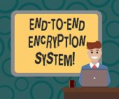 Writing Note Showing End To End Encryption System. Business Photo Showcasing Method Used For Securin poster