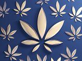 Cannabis Leaf On Blue Background. Golden Glass Marijuana Leaf. Stylish Gold Cannabis Leaf Drug Marij poster