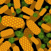 Pineapple Pattern Seamless. Ananas Ornament. Exotic Tropical Fruit Background poster