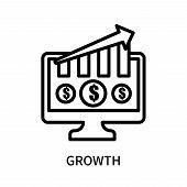 Growth Icon Isolated On White Background. Growth Icon Simple Sign. Growth Icon Trendy And Modern Sym poster