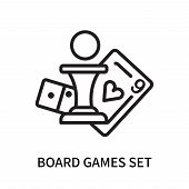Board Games Set Icon Isolated On White Background. Board Games Set Icon Simple Sign. Board Games Set poster