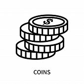 Coins Icon Isolated On White Background. Coins Icon Simple Sign. Coins Icon Trendy And Modern Symbol poster