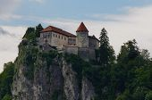 Bled Castle, Slovenia In Sunset, Medieval Castle On A Rock poster