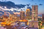 Birmingham, Alabama, USA downtown city skyline at dusk. poster