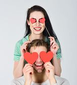 Valentines Day Concept. Man And Woman Couple In Love Hold Red Paper Heart Valentines Cards. Man And  poster