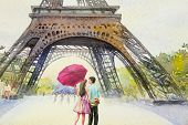 Paris European City Landscape. France, Eiffel Tower And Lovers Man And Women, Pink Umbrella, Flower  poster