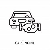 Car Engine Icon Isolated On White Background. Car Engine Icon Simple Sign. Car Engine Icon Trendy An poster