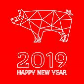 Happy Chinese New Year, Year Of The Pig. Polygonal Pig Design On Red Background. All In A Single Lay poster