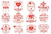 Set Of Happy Valentines Day Sign. Stamp, Sticker, Card With Key, Bird, Amur, Arrow, Heart. Vector. V poster