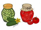 Collection Of Different Objects. Glass Jar With Home Made Cucumbers And Tomatoes. Hand Drawn Objects poster