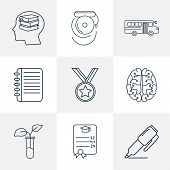 Education Icons Line Style Set With Medal, Self Study, School Bus And Other Learn Elements. Isolated poster
