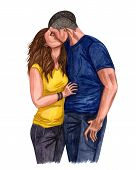 Watercolor Illustration Of A Young Couple In Love, Boy And Girl Kissing  Couple In Love. Romantic An poster