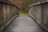 Country Park Wooden Bridge Curved Wooden Bridge In A Country Park In South Wales, Uk poster
