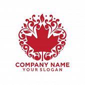 Swirl Maple Leaf Logo Template Vector Illustration, Maple Leaf Symbol Icon Logo poster