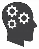Brain Gears Vector Icon Symbol. Flat Pictogram Is Isolated On A White Background. Brain Gears Pictog poster
