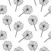 Black On White Dandelion Vector Seamless Pattern. Hand Drawn Botany Texture For Wallpaper, Pattern F poster