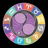 Pisces Zodiac Sign. Aquarius, Libra, Leo, Cancer, Virgo, Capricorn, Sagittarius, Aries, Gemini, Scor poster