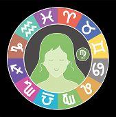 Virgo Zodiac Sign. Aquarius, Libra, Leo, Cancer, Pisces, Capricorn, Sagittarius, Aries, Gemini, Scor poster