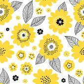 Seamless Repeat Pattern With Yellow Flowers And Black Leaves On White Background. Endless Texture Fo poster