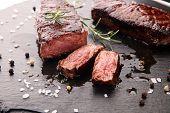 Barbecue Rib Eye Steak Or Rump Steak - Dry Aged Wagyu Entrecote Steak poster