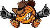 stock photo of outlaw  - Basketball Ball Cartoon Face with Cowboy Hat Holding and Aiming Guns - JPG