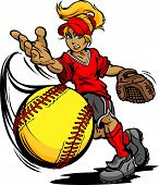 Fastpitch-Softball speler Pitching snel-Pitch Softbal Vector Image