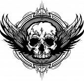 stock photo of skull crossbones  - Graphic Vector Winged Skull on Tribal Background Illustration - JPG