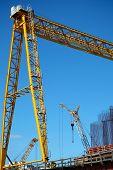 Construction Of New Bridge With Cranes